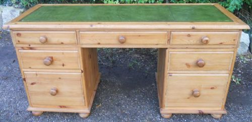 Long Narrow Pine Kneehole Writing Desk